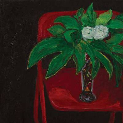 Still life in red chair